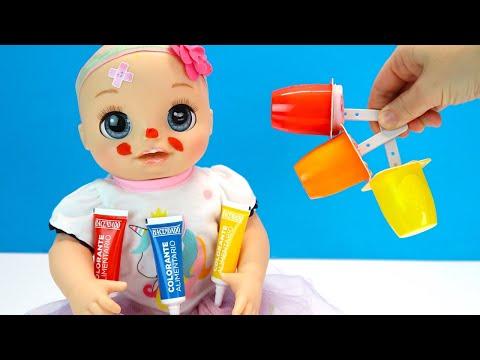 У Оли Аллергия Готовим Мороженое из йогурта  Как Мама Играла в Куклы Пупсики Мультики для детей