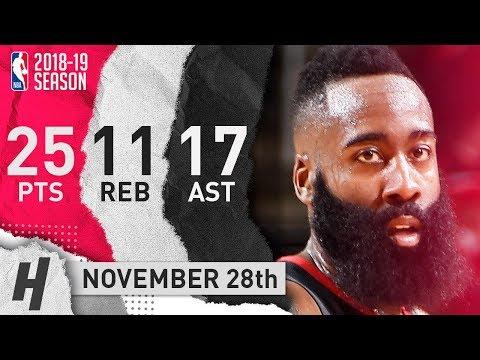 James Harden Full Highlights Rockets vs Mavericks 2018.11.28 - 25 Pts, 17 Ast, 11 Rebounds!