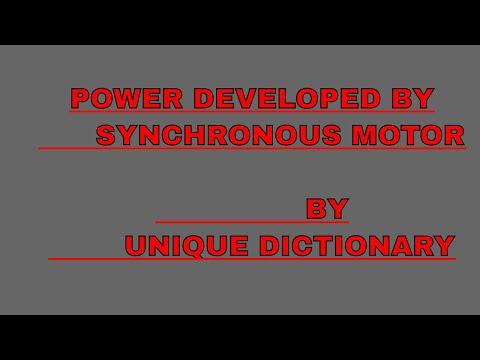 Power developed by synchronous motor