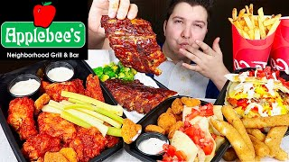 BBQ Ribs, Hot Wings, Mozz Sticks, Cheesy Quesadilla • Applebee's Bar & Grill • MUKBANG