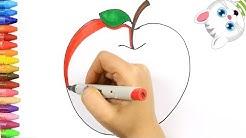Menggambar Dan Mewarnai Buah Apel Untuk Anak Belajar Menggambar