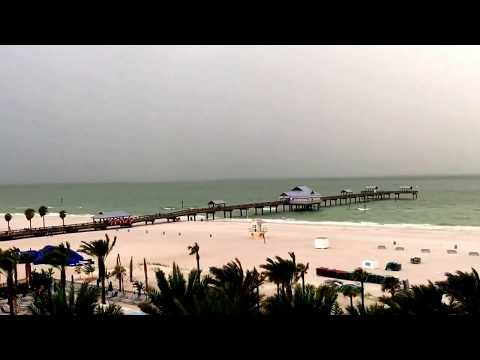 Beach Scenery! Clearwater Beach Florida Pier from the Hilton! Travel guide! Rainy Day