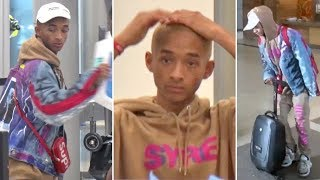 Jaden Smith Wears His Own 'SYRE' Merch And Rides His Suitcase Scooter At LAX