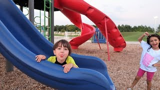 Huge Outdoor Playground for children Slides and Swings Kids activities with Zack and Heidi