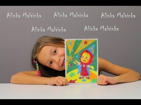 Видео для детей. Набор для творчества картинка Маша и Медведь из песка
