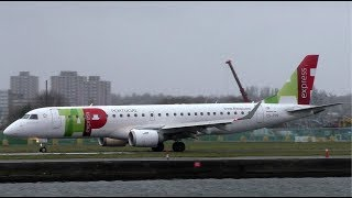 TAP Embraer E190 Action at London City Airport