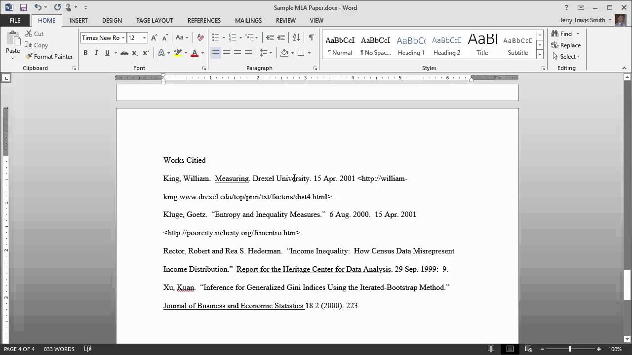 mla format for word 2013