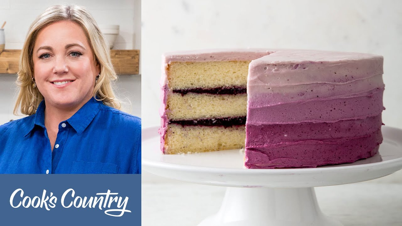 How to Make a Showstopping Ombre Blueberry Jam Cake