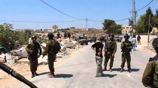 Confronting Israeli Soldiers Arresting A Palestinian