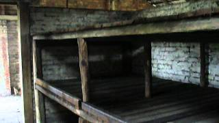 Auschwitz II - Birkenau concentration camp: interior of barrack