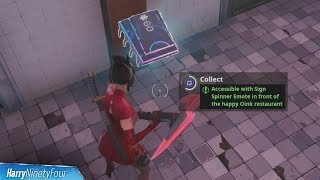Fortbyte #60: Accessible with Sign Spinner Emote in Front of the Happy Oink restaurant - Fortnite