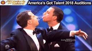Human Fountains Spitting to Each Other FUNNY America's Got Talent 2018 Auditions S13E01