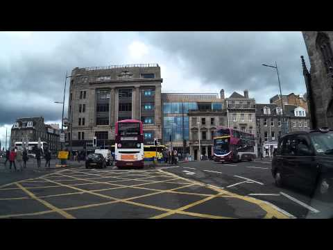 Driving Down Lothian Road And Princes Street Edinburgh Scotland