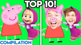 MOVIES & TV SHOWS WITH ZERO BUDGET! (Peppy Piggy, Masha & The Bear, TOP 10 LANKYBOX COMPILATION)
