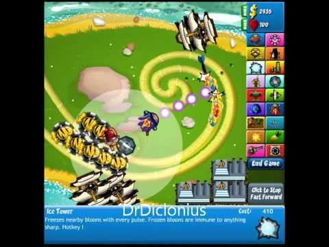 Bloons Tower Defense 4 Expansion - Track 1 Walkthrough - Hard - No Lives Lost