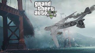 Огромный самолет разбился об мост в гта 5 Мост рухнул Есть выжившие Реальная жизнь gta 5 моды