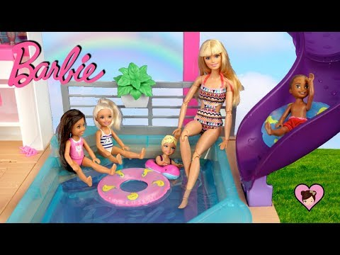 NEW Barbie Dreamhouse Adventures Morning Routine with Pool Party!