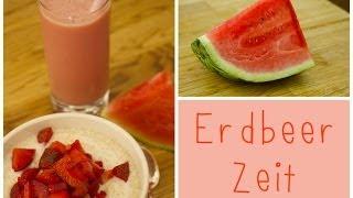 #frühstücks-idee - Amaranth-erdbeer-müsli + Melonen-erdbeer-drink