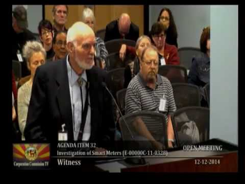 Radiation Victims Testify at Arizona Smart AMI AMR RF Transmitting Utility Meter Meeting 12/12/2014