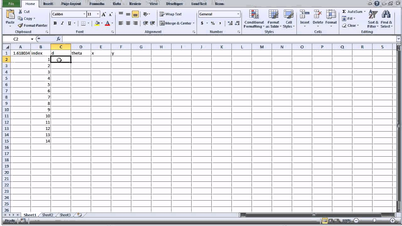 Make your own golden ratio seed pattern using excel youtube publicscrutiny Images