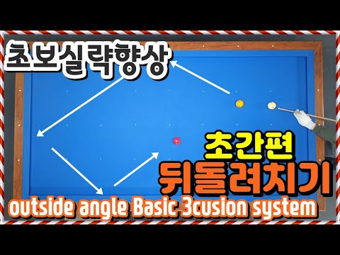 초간편한 뒤로돌려치기 시스템?ㅣ숫자는 없다ㅣ당구초보3쿠션ㅣ실력향상ㅣ우라마시ㅣ3cusion Outside Angle ShortㅣBasic System
