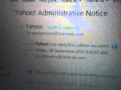Scam Message Yahoo! Administrative Notice