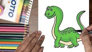 Dạy bé tập vẽ khủng long xanh