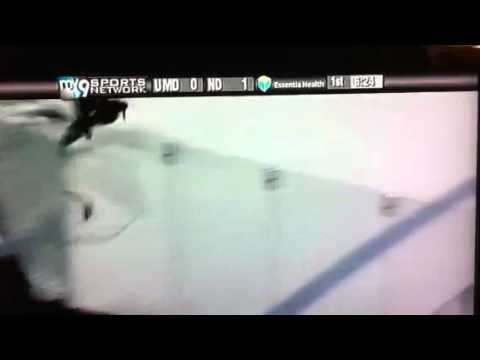 UMD Bulldogs vs UND Fighting Sioux - Brutal Hit in Amsoil Arena