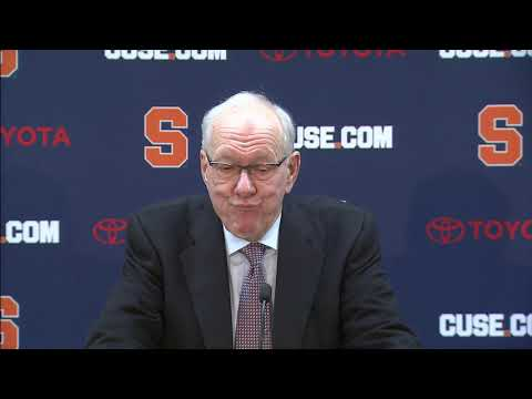 Syracuse University men's basketball coach Jim Boeheim speaking at a post-game press conference after the Orange's loss to Duke on Saturday, Feb. 23 at the Carrier Dome.
