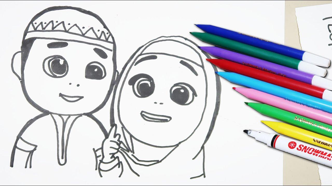 CARA MENGGAMBAR DAN MEWARNAI NUSSA DAN RARA KARTUN ISLAMI VIRAL