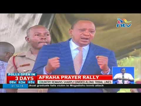 President Uhuru joins worshippers at Afraha to pray for Kenya