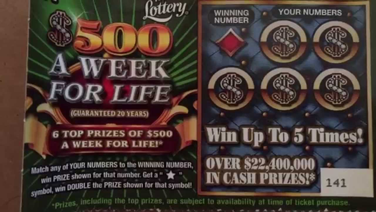 Florida Lottery Scratcher $500 a week for Life