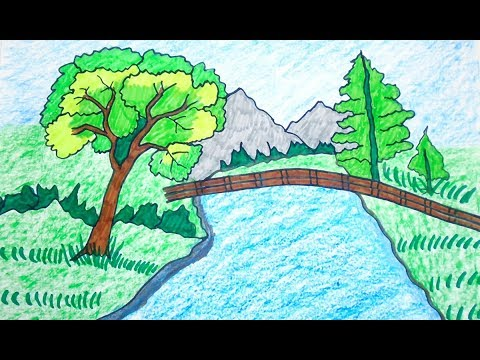 river mountain and snake scenery coloring page in 2020 | Coloring ... | 360x480