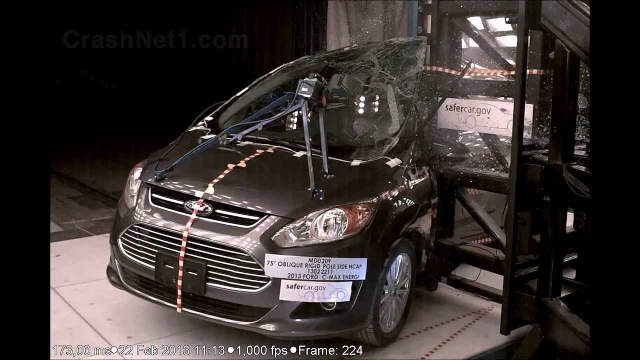 2013 ford c max energi pole crash test by nhtsa crashnet1 youtube. Black Bedroom Furniture Sets. Home Design Ideas