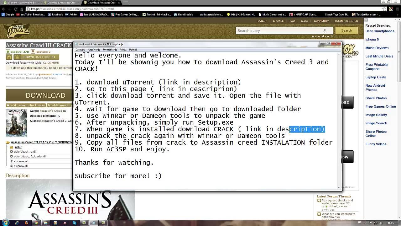 Assassins creed 3 download utorrent
