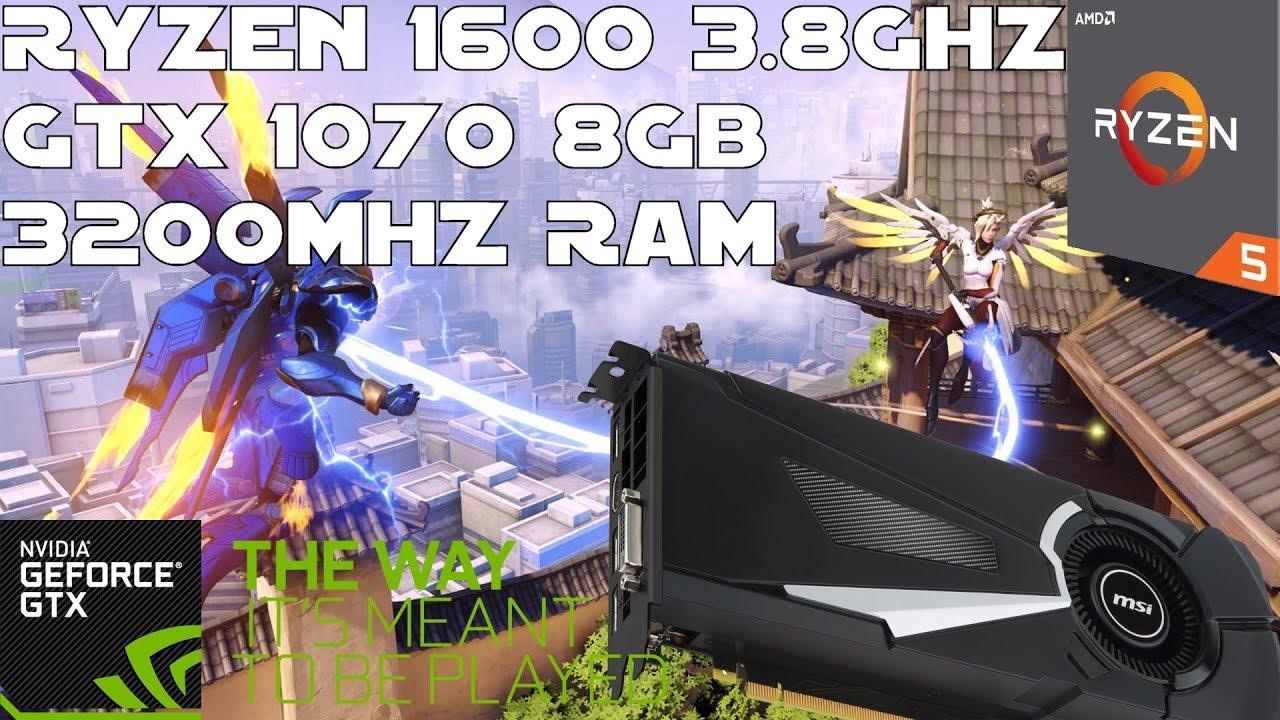 Ryzen 1600 + GTX 1070 - Overwatch Gameplay - Epic 1080p 144hz