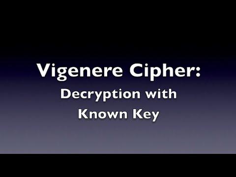 Vigenere Cipher - Decryption (Known Key)