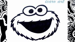 Como dibujar el come galletas paso a paso | how to draw the cookie monster