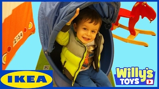 Kid Playing at Childrens Toy Area at IKEA | Swedish Meatballs and Candy | Willys Toys