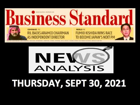 Business Standard News Analysis- Thursday, Sept 30, 2021