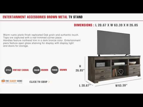 Entertainment Accessories Brown Metal TV Stand With Fireplace Option by Ashley