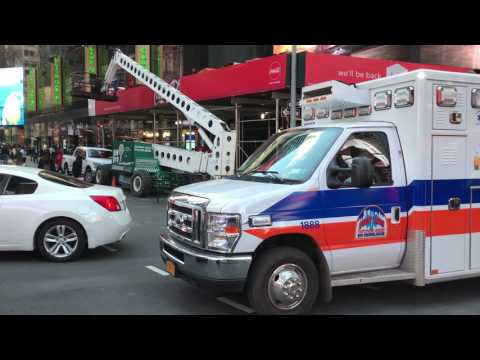 NEW YORK PRESBYTERIAN HOSPITAL EMS AMBULANCE RESPONDING ON W. 47TH ST. IN TIMES SQUARE, MANHATTAN.