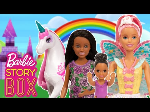 Will Babysitter and Baby Find Barbie Unicorn in the Rainbow Realm?   Barbie Story Box   Barbie