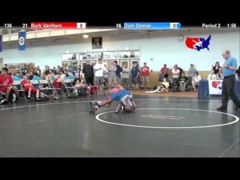 2012 Schoolboy Nat. Duals  136: Burk VanHorn vs. Dom Demas
