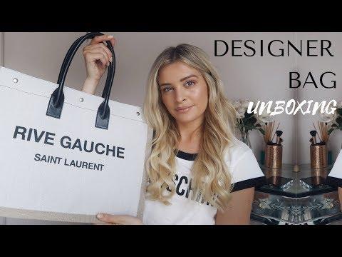 SAINT LAURENT RIVE GAUCHE LINEN BAG UNBOXING | Louise Cooney