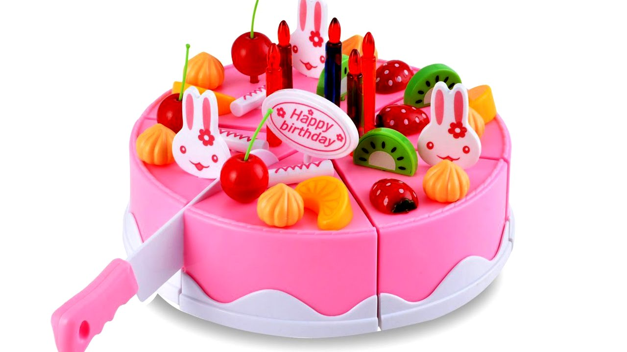Pretend Play For Kids Toy Cutting Velcro Fruit Birthday Cake Plastic