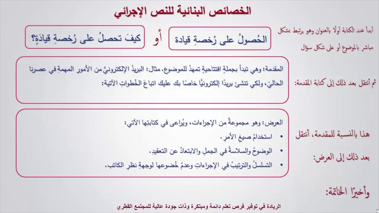 اللغة العربية صف 12 كتابة نص إجرائي أو إرشادي Youtube