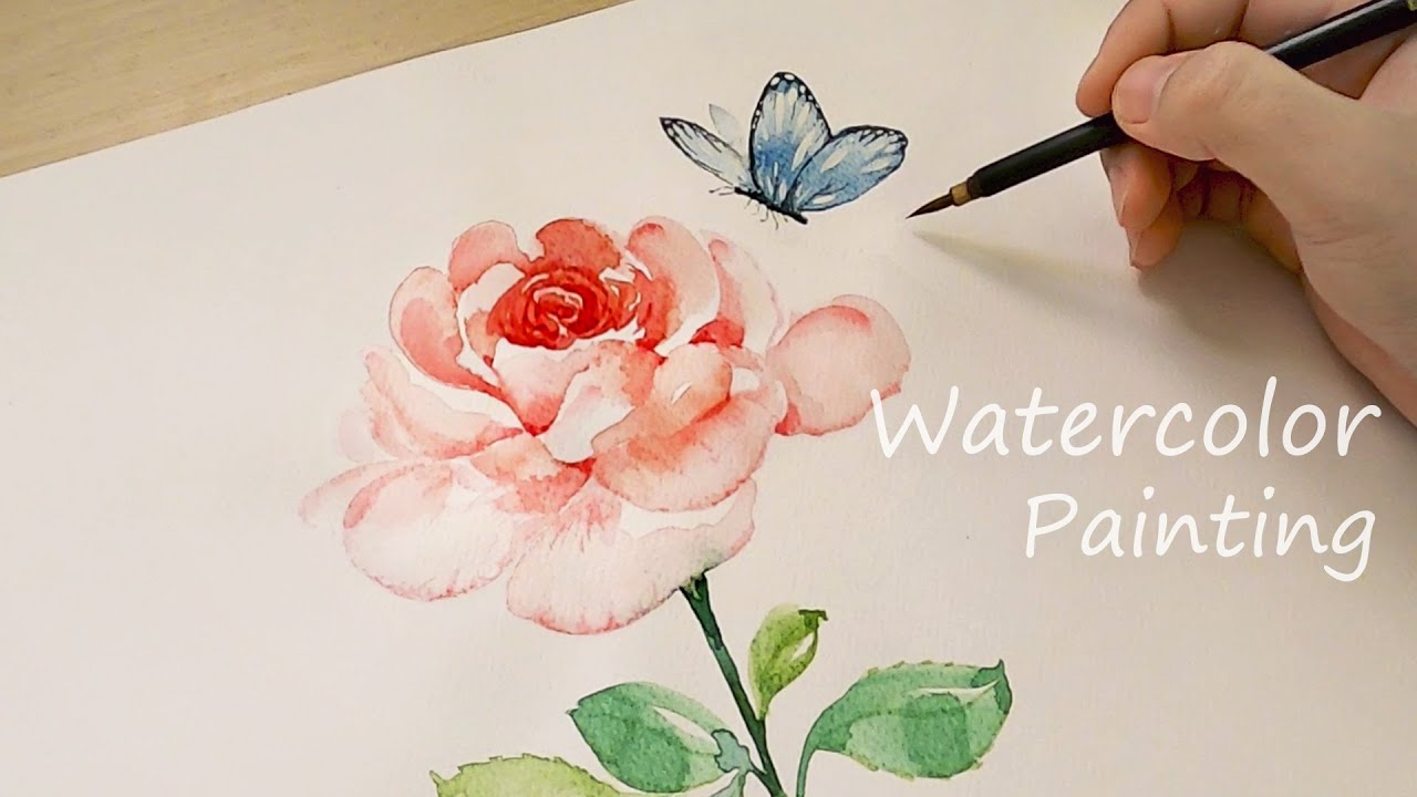 Watercolor Rose Painting / Drawing a Butterfly