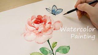 Картина акварелью роз Рисование бабочки