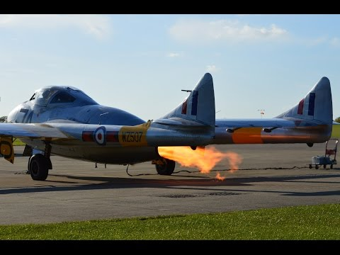 de Havilland Vampire Startup doing Fire Flames